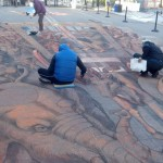 Kurt Wenner's working on his chalk painting for the 2012 Sarasota Chalk Festival. Photo by Pamela Beck
