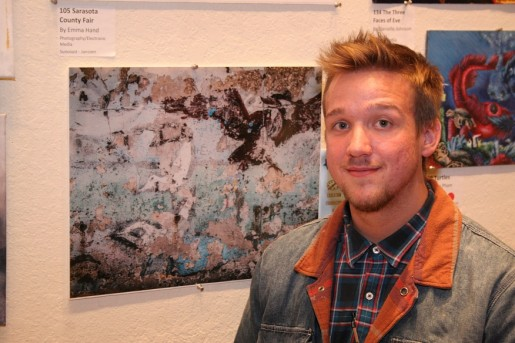 Venice High's Micah Mathewson with his digital image, Age in Blue-Green.