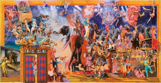 """The Greatest Show on Earth,"" a mural by William Woodward. Photo by Giovanni Lunardi, courtesy of Ringling Museum of Art."
