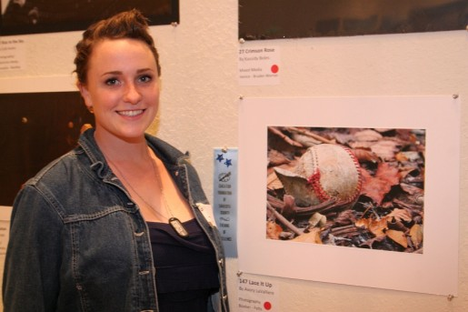 Booker High's Avory LaValliere with her photograph, Lace It Up.