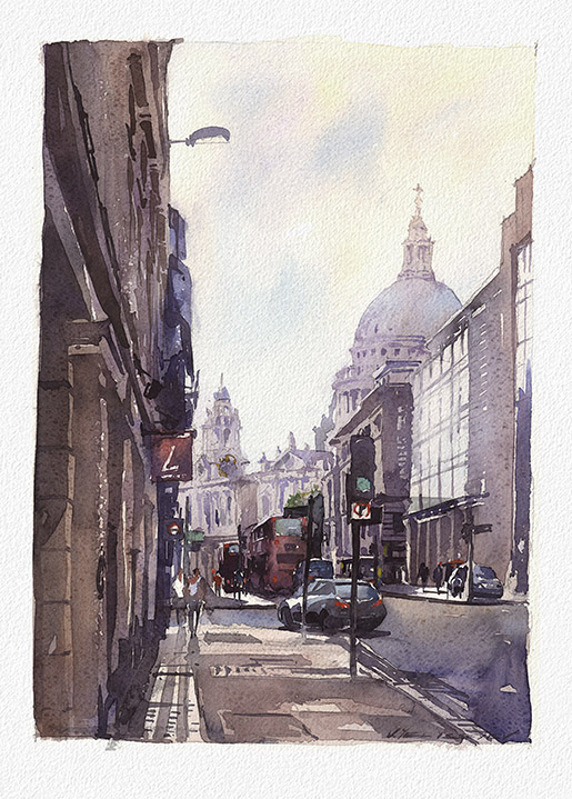 "View on St. Paul Cathedral, London. Watercolor. 9.6""x13.7"" Displayed at Stakenborg Fine Art Gallery,  1545 Main St., Sarasota, FL  phone (941) 487 - 8001"
