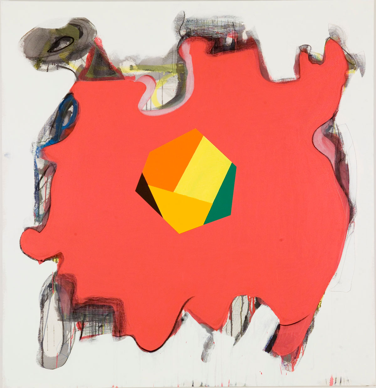 "Peter Plagens, Get In There Fast, 2010, mixed media on canvas, 54"" x 52"""