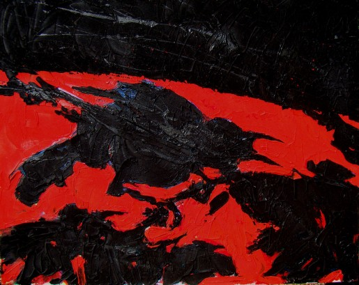 "RED BACKED CROW   24"" X 30""   acrylic on canvas"