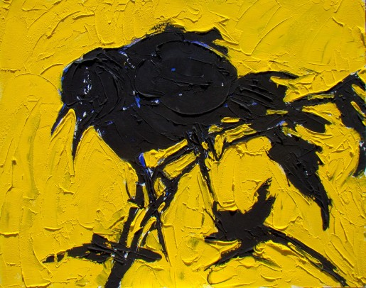 "YELLOW BACKED CROW   24"" X 30""   acrylic on canvas"