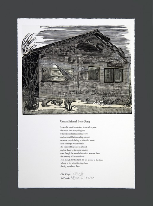 "Broadside for Unconditional Love Song by CD Wright, artist Ke Francis, print made from 4 relief printed plates, 18.5"" x 13"", from Ringling Suite, edition size 75."