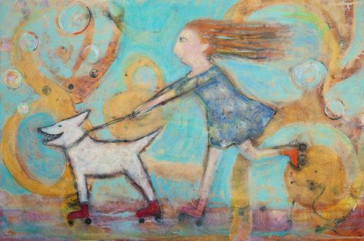 Joyous Pursuit, Mixed Media by Janet Mishner