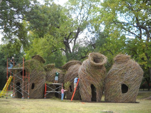 """River Vessels"" by Patrick Dougherty; Waco Cultural Arts Center, Waco, TX; photo by Mark Randolph"