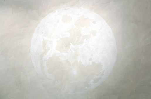 "Carol Mickett, First Moon  (In Progress), 2012 acrylic on paper mounted on canvas 60"" x 131"""