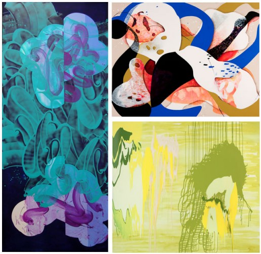 Images: Carrie Moyer, Diver, 2011, acrylic on canvas (left);  David Reed, #511, 2001-2004, oil and alkyd on linen (above right);  Carolanna Parlato, Undercurrent, 2009, acrylic on canvas (below right).
