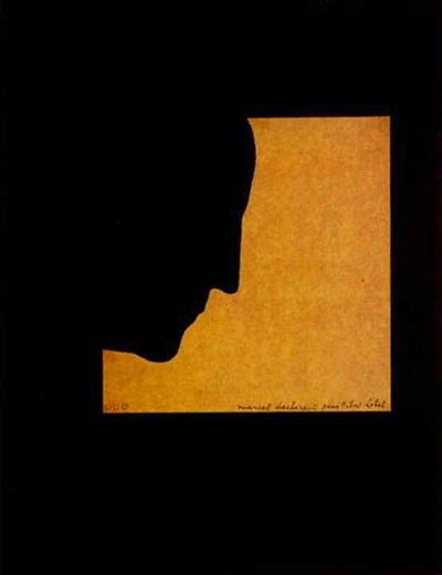 Marcel Duchamp, Self-Portrait in Profile, 1958. Torn colored paper on black background. 14.3 x 12.5 cm. Private collection.