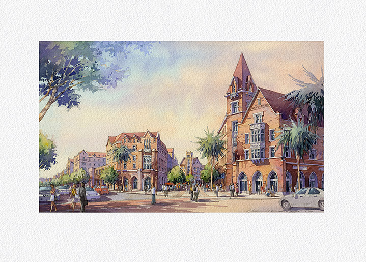 "Architectural Watercolor Illustration. 14""x 8.25"" Project: Village at University of South California (USC), Los Angeles  by Torti Gallas and Partners, Inc."