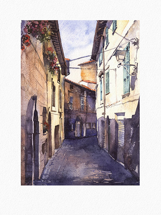 "Day in Orvietto.  Watercolor. 9""x12.6""  Yeliseyev Art Studio, phone (941) 330-6865 4600 Pine Harrier Dr., Sarasota, FL"