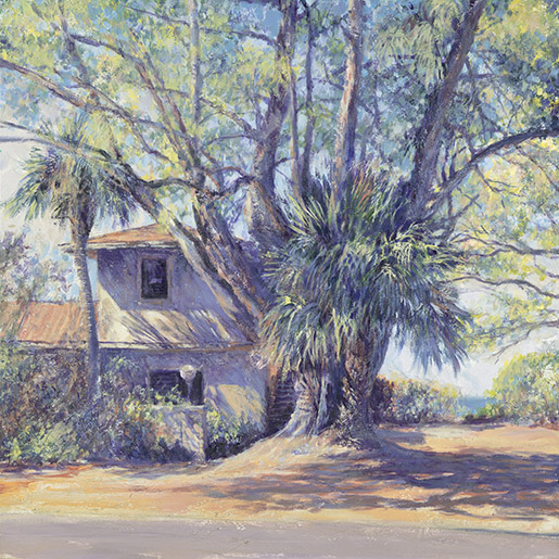 "Longboat Key House. Acrylic on canvas. 30""x30"" Giclee on canvas at Collectors Gallery & Framery. 114 South Nokomis Ave., Venice, FL phone (941) 488-3029"