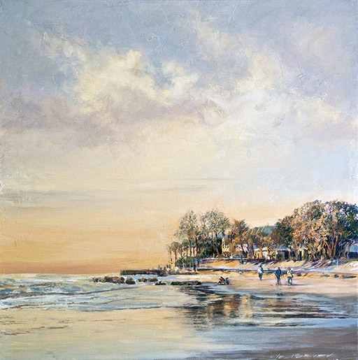 "Sunset on Siesta Key. Acrylic on canvas. 24""x24"" Displayed at Stakenborg Fine Art Gallery,  1545 Main St., Sarasota, FL phone (941) 487 - 8001"