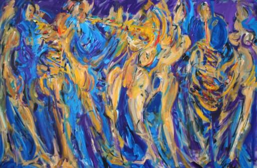 """BLUES DANCE   42"""" X 72""""   acrylic on canvas"""
