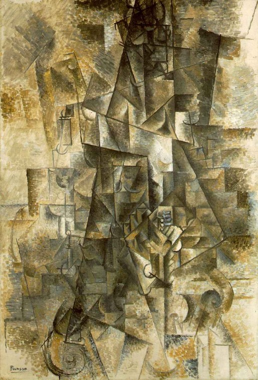 Pablo Picasso, Accordionist, 1911, oil on canvas, 51 1:4 x 35 1:4 in. (130 x 89.5 cm.) Solomon R. Guggenheim Museum, New York