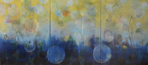 "Erin Parish, Neurogenisis,  2013, oil and resin on canvas, 40"" x 90"""