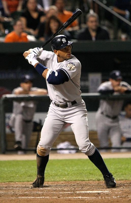 Alex Rodriguez bats in a game on April 19, 2008 courtesy of Keith Allison.