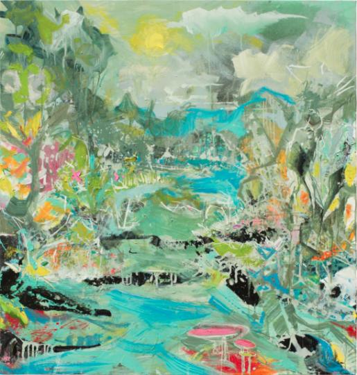 """""""Rainbow River"""" oil and acrylic on canvas  48"""" x 46"""""""
