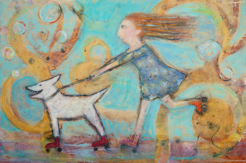 Joyous Pursuit, Mixed Media by Janet Mishner